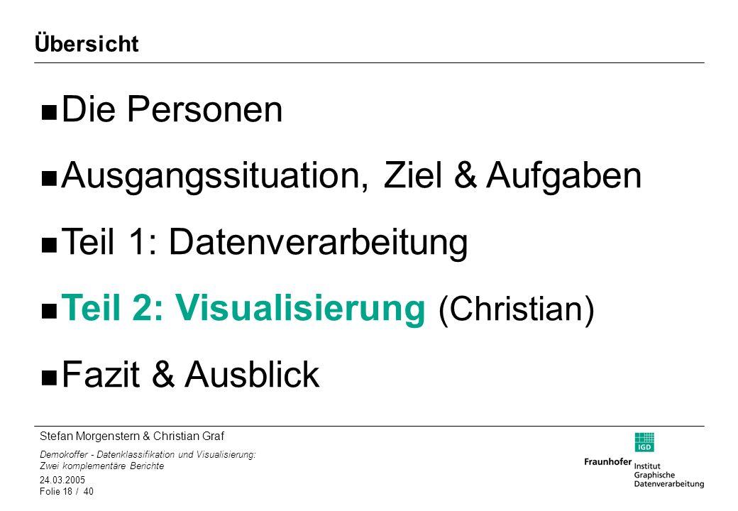 Stefan Morgenstern & Christian Graf Demokoffer - Datenklassifikation und Visualisierung: Zwei komplementäre Berichte 24.03.2005 Folie 18 / 40 Übersich