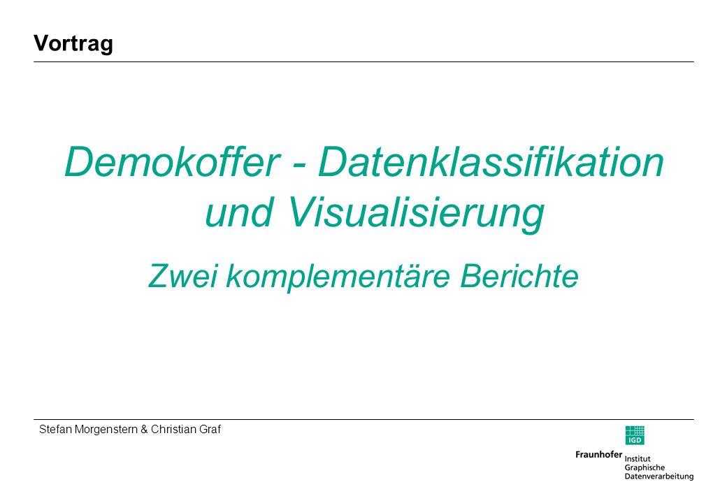 Stefan Morgenstern & Christian Graf Demokoffer - Datenklassifikation und Visualisierung: Zwei komplementäre Berichte 24.03.2005 Folie 3 / 40 Gliederung Zu uns Ausgangssituation, Ziel & Aufgaben Teil 1: Datenverarbeitung Teil 2: Visualisierung Fazit & Ausblick