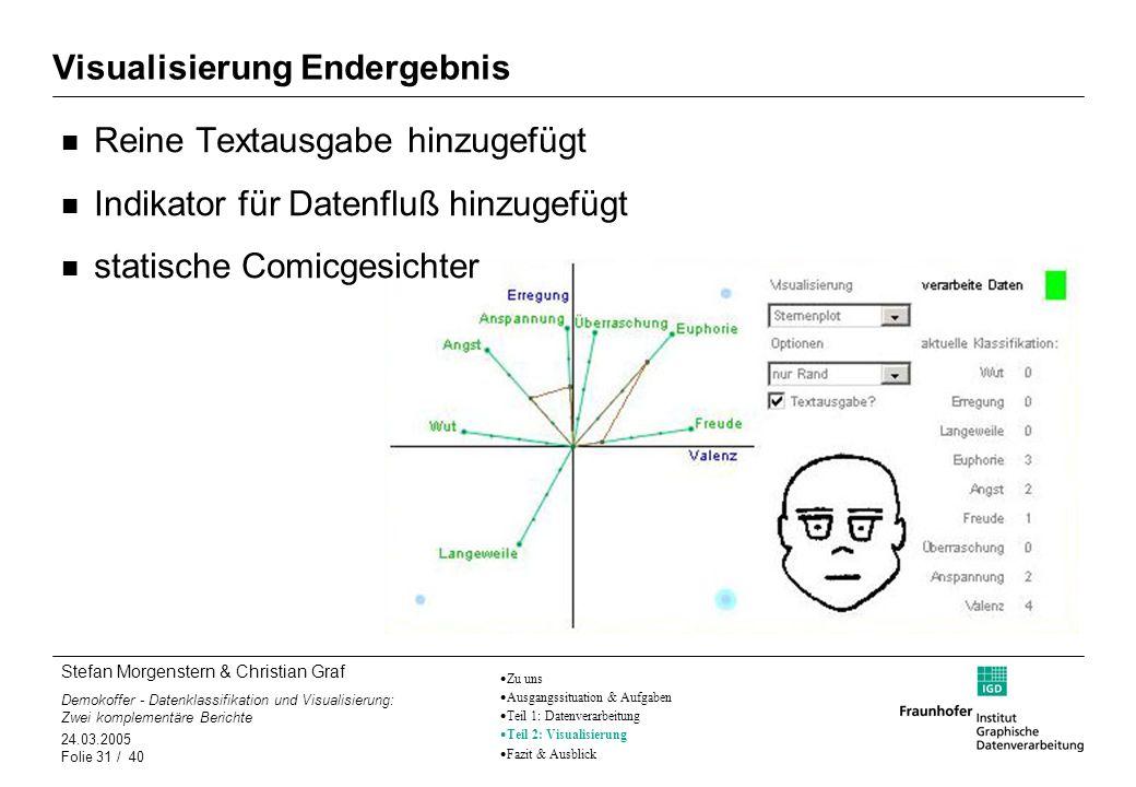 Stefan Morgenstern & Christian Graf Demokoffer - Datenklassifikation und Visualisierung: Zwei komplementäre Berichte 24.03.2005 Folie 31 / 40 Visualis