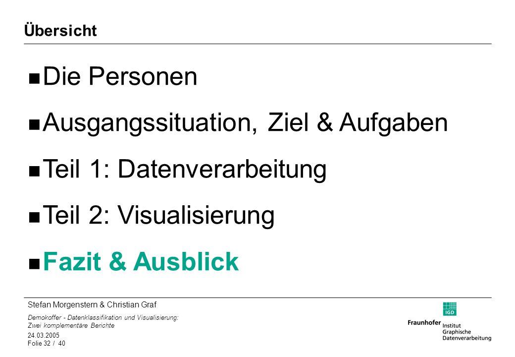 Stefan Morgenstern & Christian Graf Demokoffer - Datenklassifikation und Visualisierung: Zwei komplementäre Berichte 24.03.2005 Folie 32 / 40 Übersich