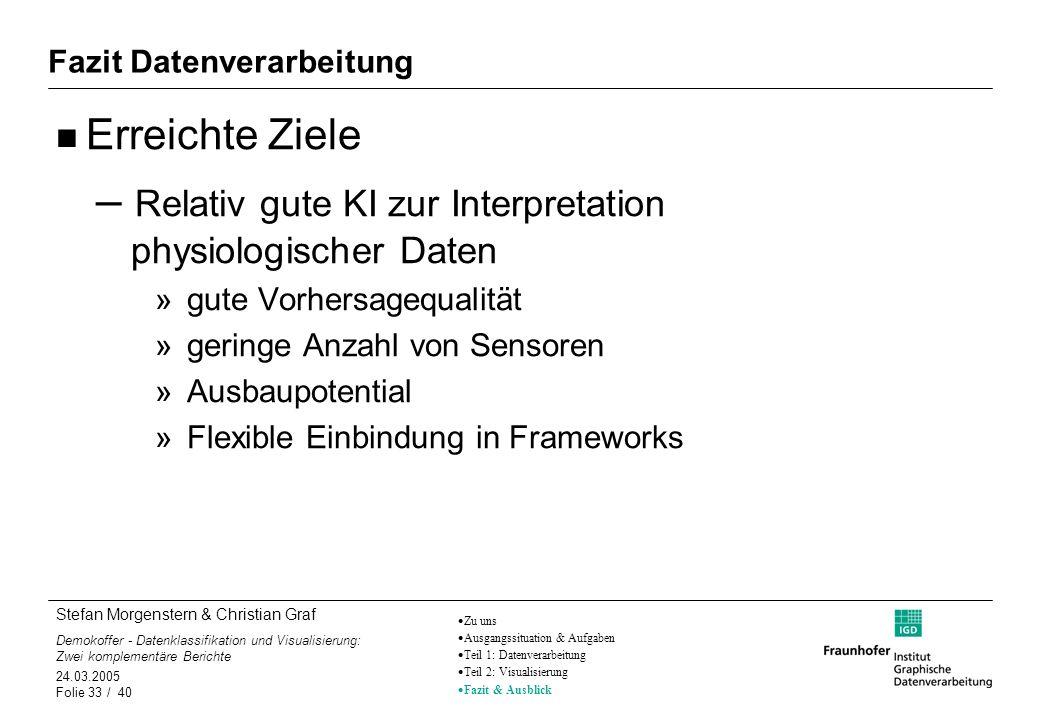 Stefan Morgenstern & Christian Graf Demokoffer - Datenklassifikation und Visualisierung: Zwei komplementäre Berichte 24.03.2005 Folie 33 / 40 Fazit Da