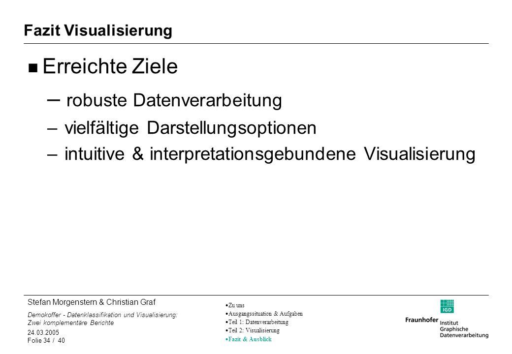 Stefan Morgenstern & Christian Graf Demokoffer - Datenklassifikation und Visualisierung: Zwei komplementäre Berichte 24.03.2005 Folie 34 / 40 Fazit Vi
