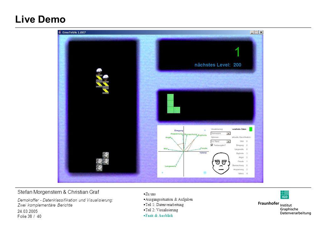 Stefan Morgenstern & Christian Graf Demokoffer - Datenklassifikation und Visualisierung: Zwei komplementäre Berichte 24.03.2005 Folie 38 / 40 Live Dem