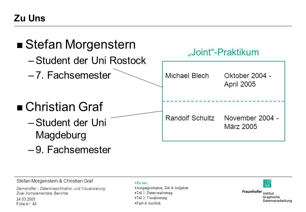 Stefan Morgenstern & Christian Graf Demokoffer - Datenklassifikation und Visualisierung: Zwei komplementäre Berichte 24.03.2005 Folie 4 / 40 Zu Uns St