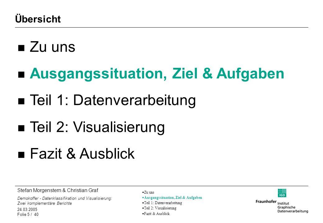 Stefan Morgenstern & Christian Graf Demokoffer - Datenklassifikation und Visualisierung: Zwei komplementäre Berichte 24.03.2005 Folie 36 / 40 Ausblick Letzte Schritte – Was wird gerade getan.