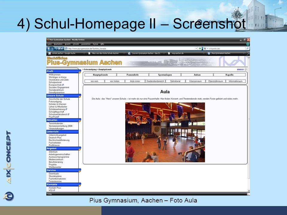 4) Schul-Homepage II – Screenshot Pius Gymnasium, Aachen – Foto Aula