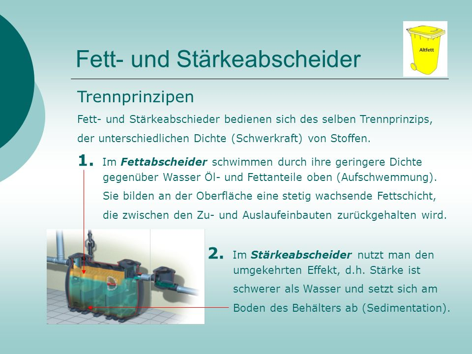 Fett- und Stärkeabscheider Merke: Nicht nur der Umwelt zuliebe - Fettabscheider sind Vorschrift !!! Ein Teil der organischen Abfälle (Fett / Stärke) g