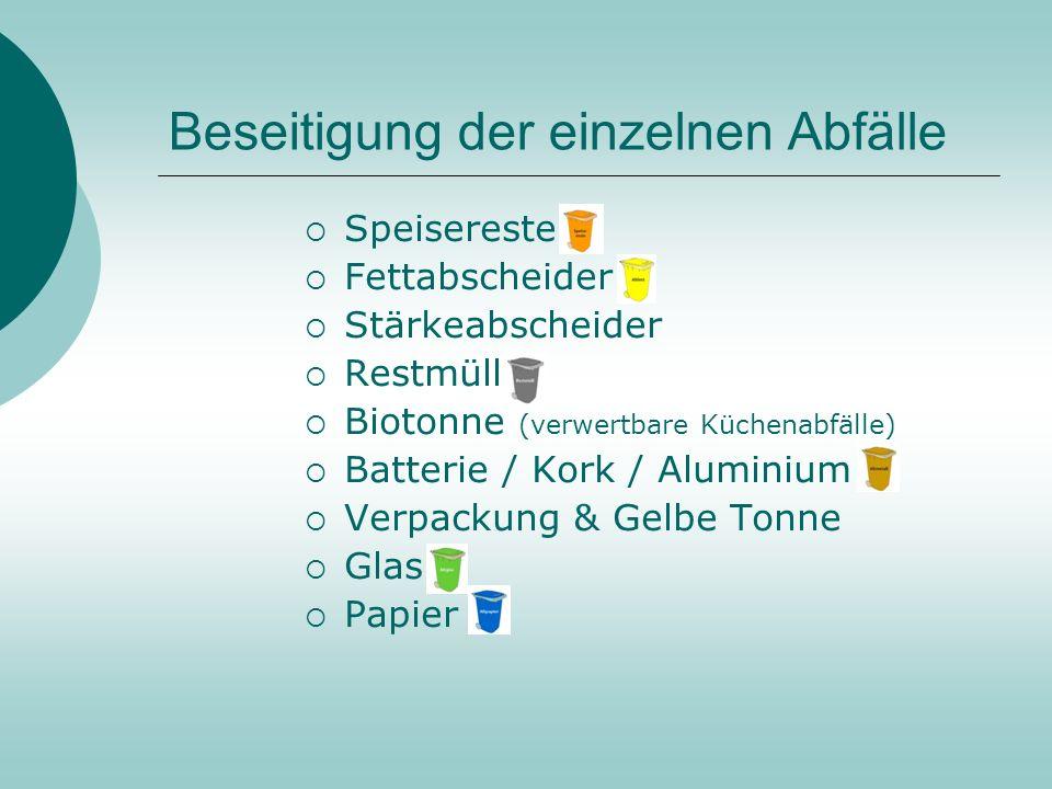 … oder … Vermeidung im Restaurant: Getränke nur aus Zapfanlagen oder in Pfandflaschen anbieten. Verzicht auf Dosengetränke und Einwegflaschen. Einkauf