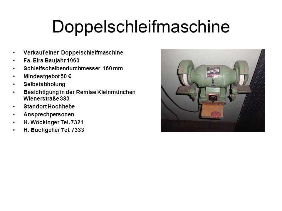Doppelschleifmaschine Verkauf einer Doppelschleifmaschine Fa. Elra Baujahr 1960 Schleifscheibendurchmesser 160 mm Mindestgebot 50 Selbstabholung Besic