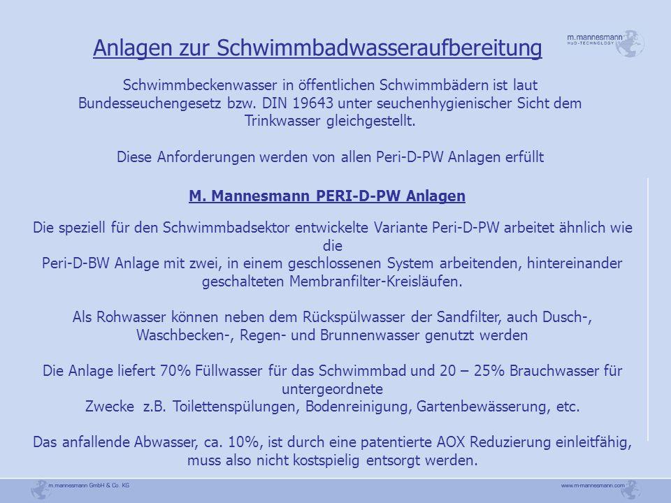 Anlagen zur Schwimmbadwasseraufbereitung M. Mannesmann PERI-D-PW Anlagen Die speziell für den Schwimmbadsektor entwickelte Variante Peri-D-PW arbeitet