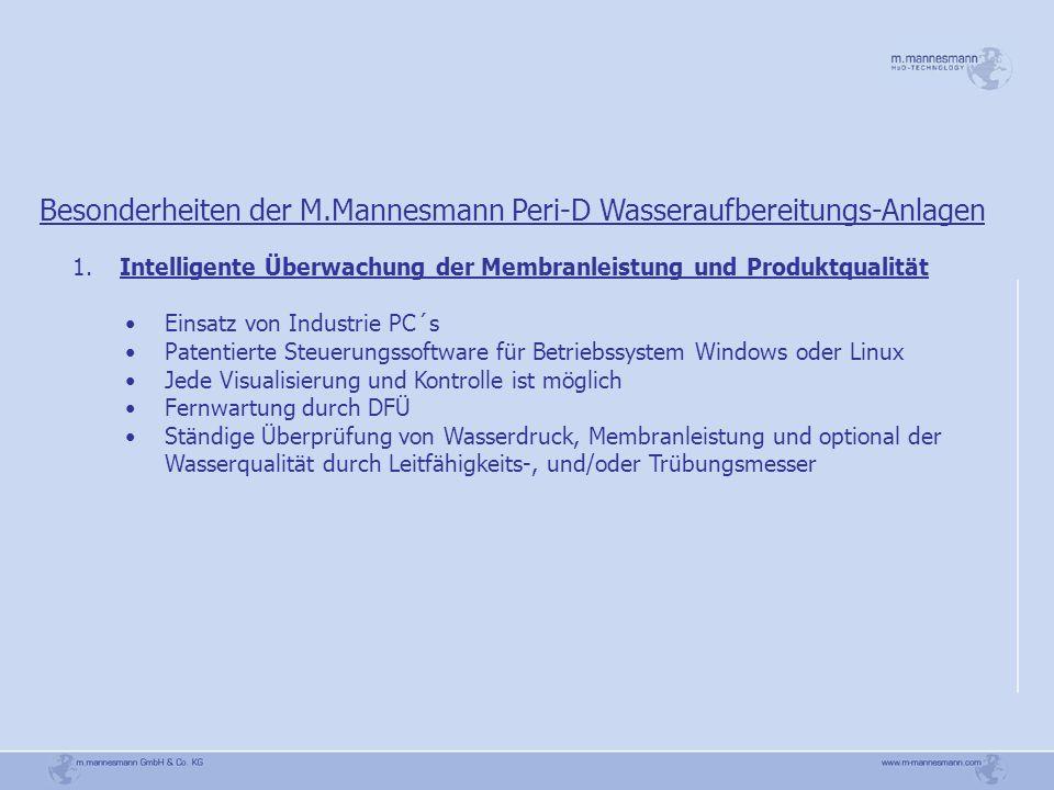 Besonderheiten der M.Mannesmann Peri-D Wasseraufbereitungs-Anlagen 1. Intelligente Überwachung der Membranleistung und Produktqualität Einsatz von Ind