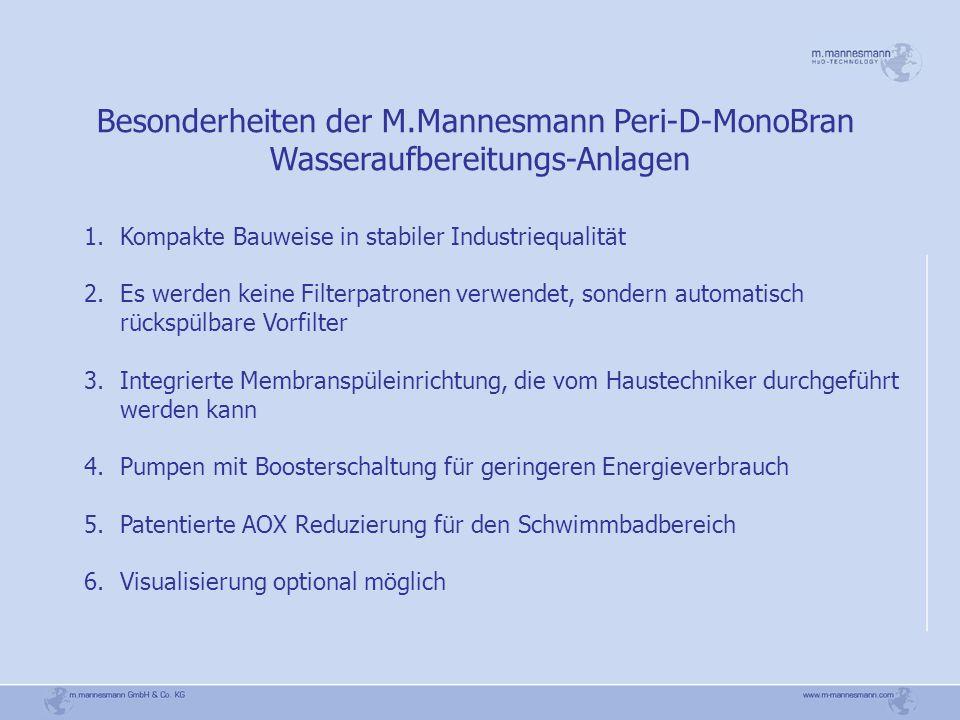 Besonderheiten der M.Mannesmann Peri-D-MonoBran Wasseraufbereitungs-Anlagen 1.Kompakte Bauweise in stabiler Industriequalität 2.Es werden keine Filter