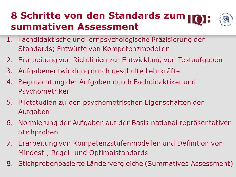 8 Schritte von den Standards zum summativen Assessment 1.Fachdidaktische und lernpsychologische Präzisierung der Standards; Entwürfe von Kompetenzmode
