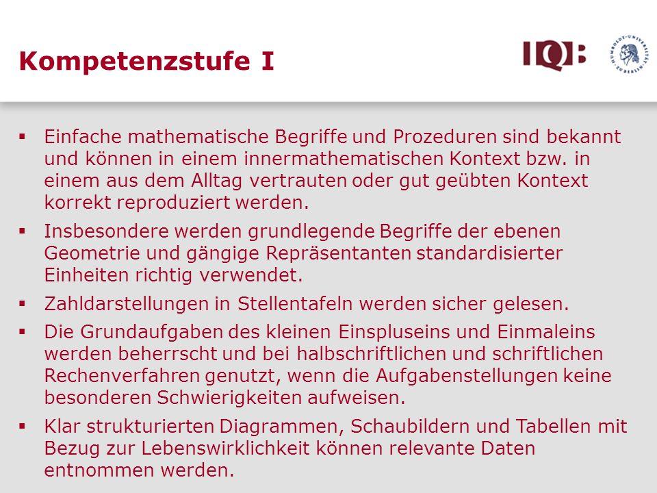 Kompetenzstufe I Einfache mathematische Begriffe und Prozeduren sind bekannt und können in einem innermathematischen Kontext bzw. in einem aus dem All