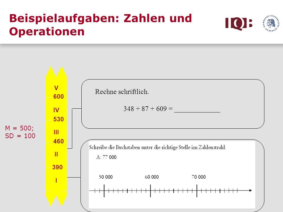 Beispielaufgaben: Zahlen und Operationen V IV III II I 600 530 460 390 M = 500; SD = 100 Rechne schriftlich. 348 + 87 + 609 = _____________