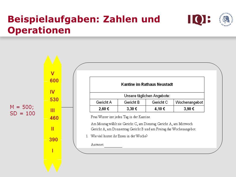 Beispielaufgaben: Zahlen und Operationen V IV III II I 600 530 460 390 M = 500; SD = 100