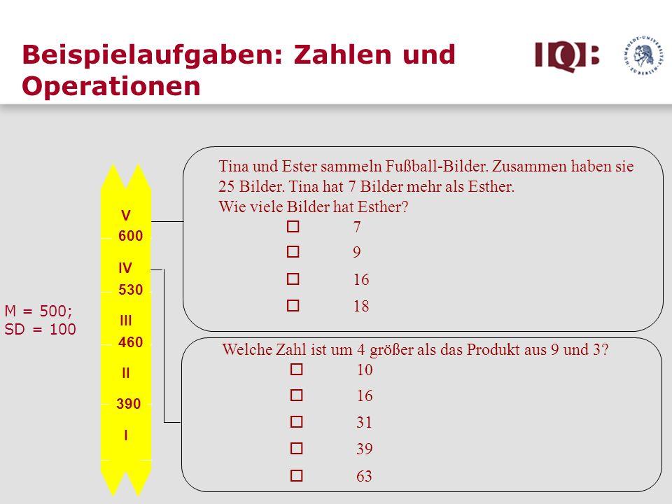 Beispielaufgaben: Zahlen und Operationen V IV III II I 600 530 460 390 M = 500; SD = 100 Welche Zahl ist um 4 größer als das Produkt aus 9 und 3? 10 1