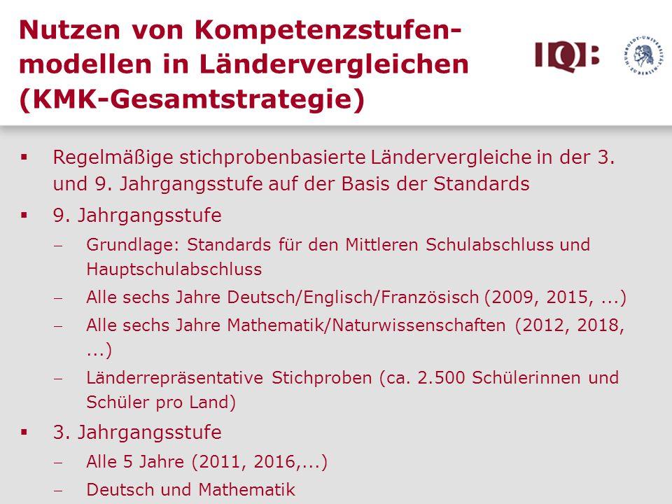 Nutzen von Kompetenzstufen- modellen in Ländervergleichen (KMK-Gesamtstrategie) Regelmäßige stichprobenbasierte Ländervergleiche in der 3. und 9. Jahr