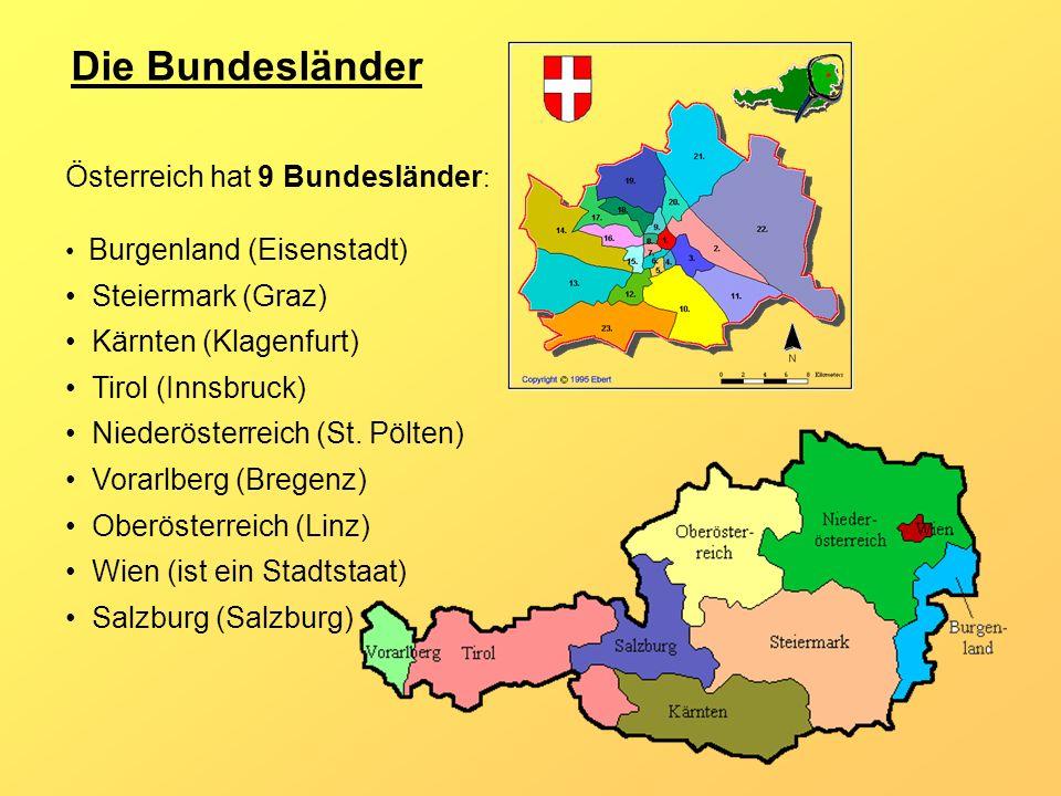 Die Bundesländer Österreich hat 9 Bundesländer : Burgenland (Eisenstadt) Steiermark (Graz) Kärnten (Klagenfurt) Tirol (Innsbruck) Niederösterreich (St