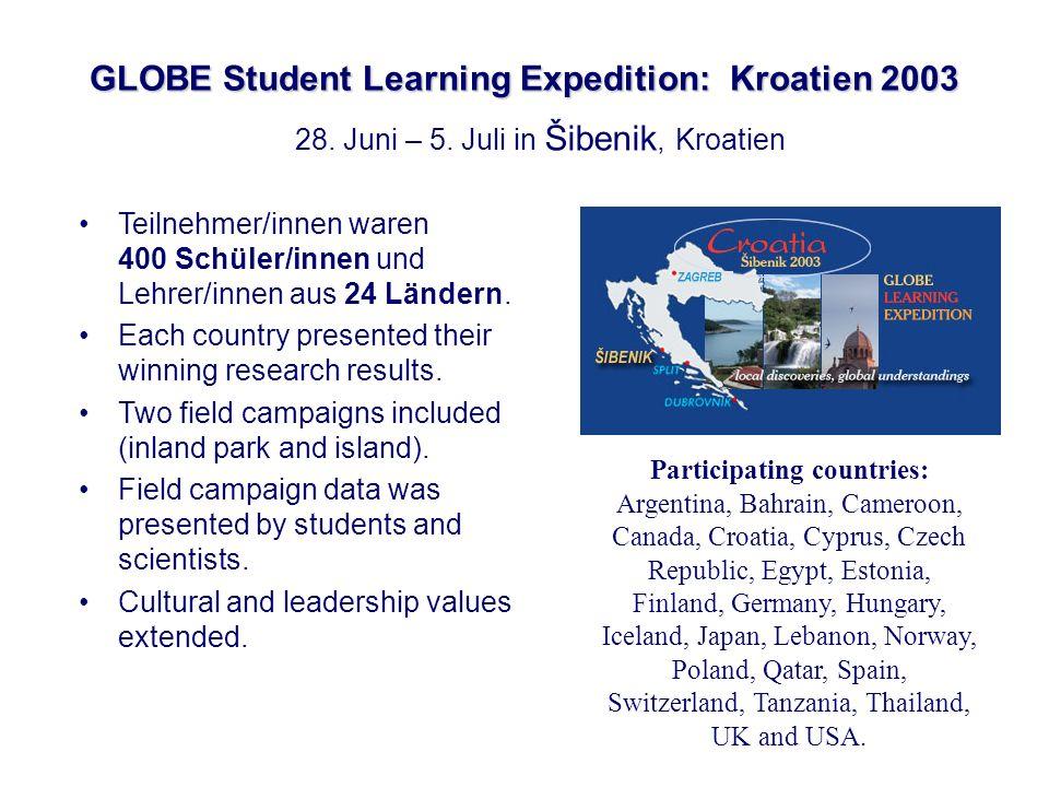 GLOBE Student Learning Expedition: Kroatien 2003 Teilnehmer/innen waren 400 Schüler/innen und Lehrer/innen aus 24 Ländern. Each country presented thei