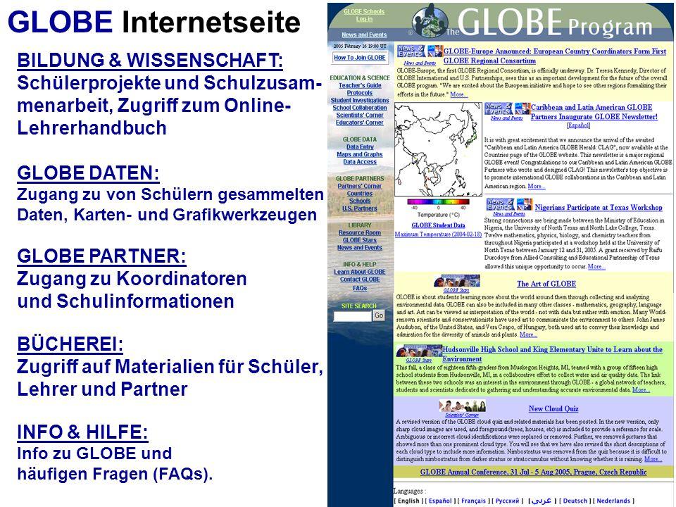 BILDUNG & WISSENSCHAFT: Schülerprojekte und Schulzusam- menarbeit, Zugriff zum Online- Lehrerhandbuch GLOBE DATEN: Zugang zu von Schülern gesammelten