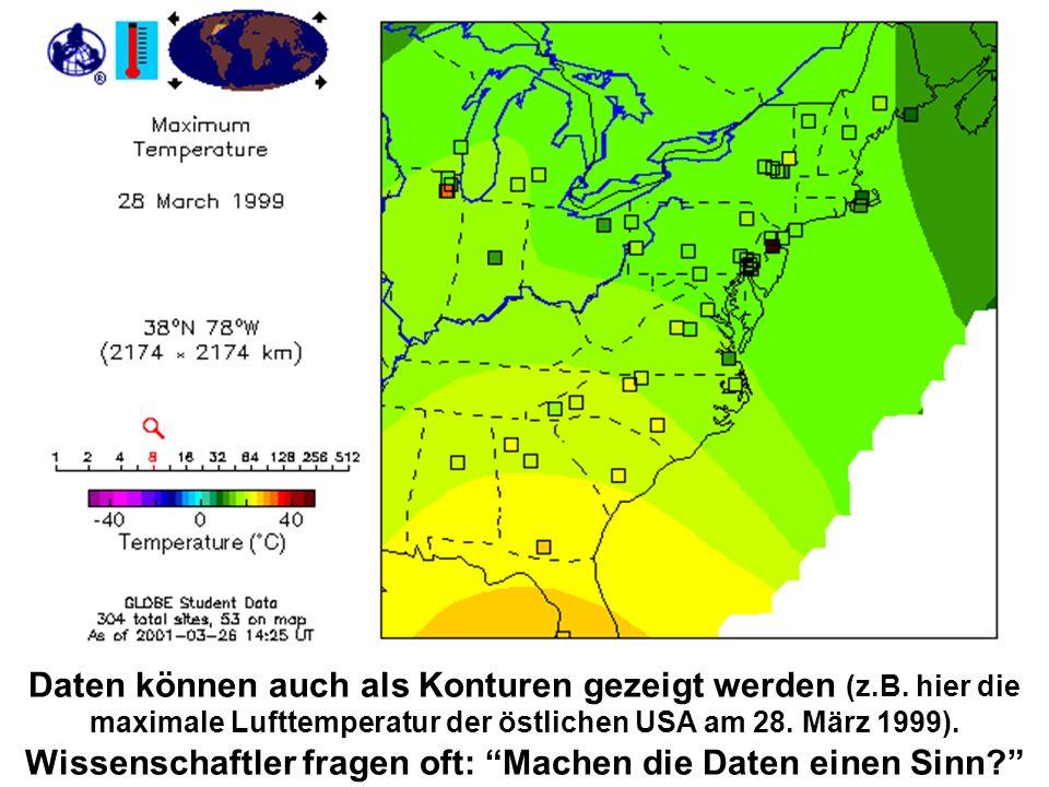 Daten können auch als Konturen gezeigt werden (z.B. hier die maximale Lufttemperatur der östlichen USA am 28. März 1999). Wissenschaftler fragen oft: