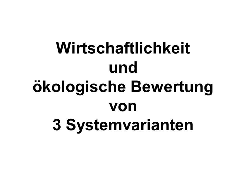 Wirtschaftlichkeit und ökologische Bewertung von 3 Systemvarianten