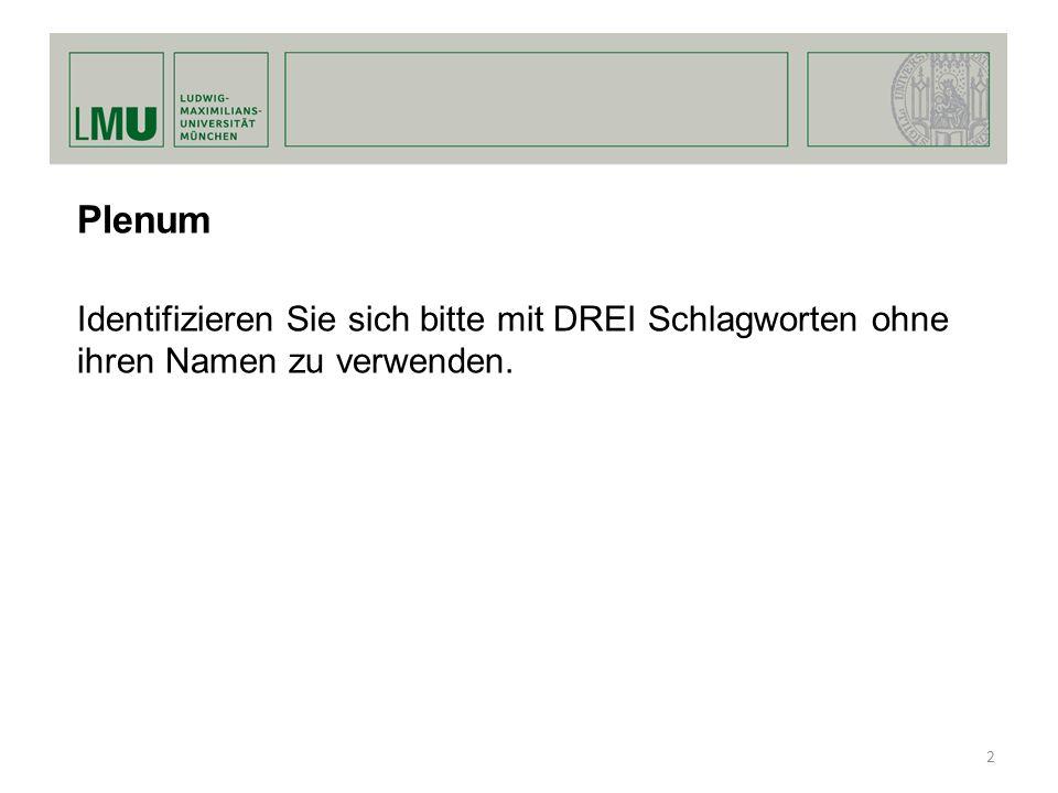 Plenum Identifizieren Sie sich bitte mit DREI Schlagworten ohne ihren Namen zu verwenden. 2