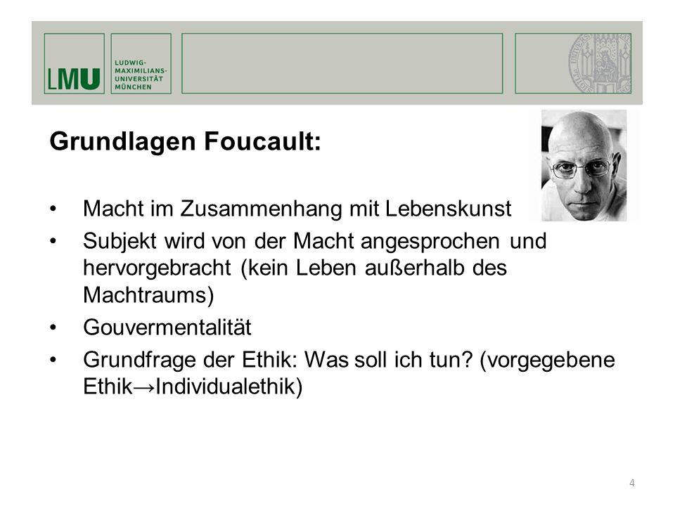 Grundlagen Foucault: Macht im Zusammenhang mit Lebenskunst Subjekt wird von der Macht angesprochen und hervorgebracht (kein Leben außerhalb des Machtr