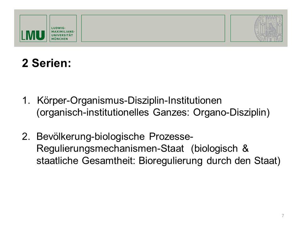 2 Serien: 1.Körper-Organismus-Disziplin-Institutionen (organisch-institutionelles Ganzes: Organo-Disziplin) 2.Bevölkerung-biologische Prozesse- Reguli