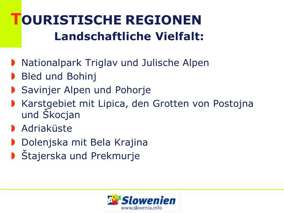 T OURISTISCHE REGIONEN Landschaftliche Vielfalt: Nationalpark Triglav und Julische Alpen Bled und Bohinj Savinjer Alpen und Pohorje Karstgebiet mit Li