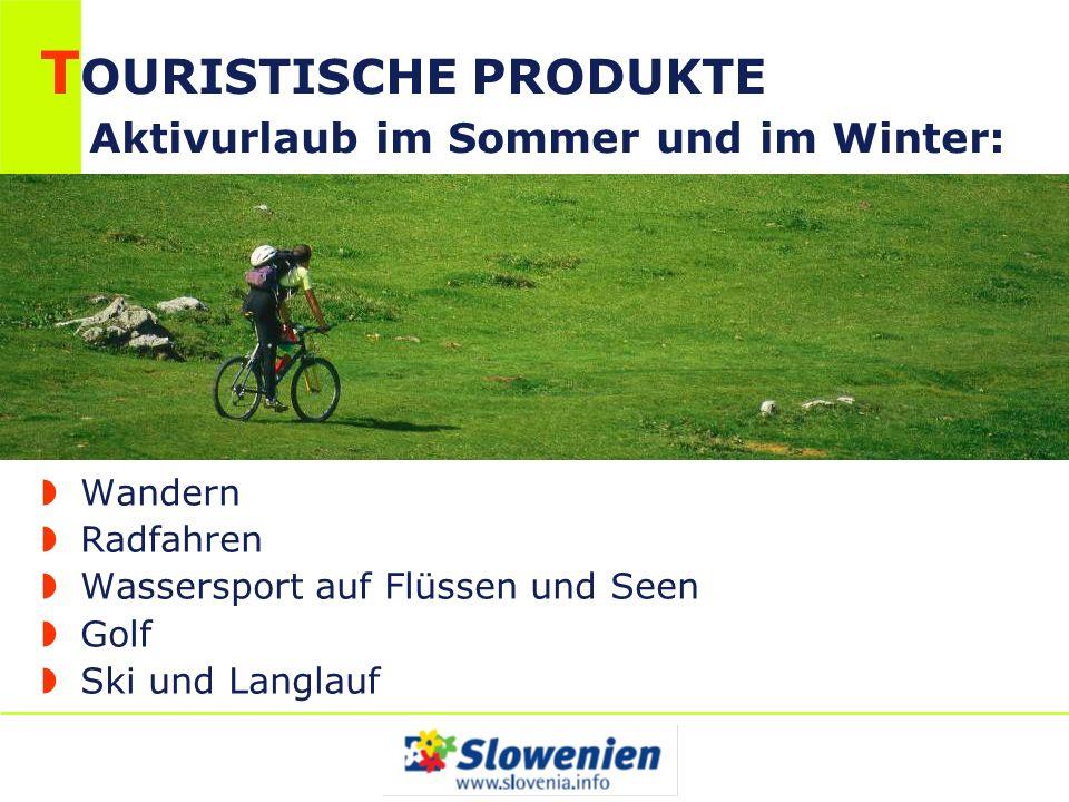 T OURISTISCHE PRODUKTE Aktivurlaub im Sommer und im Winter: Wandern Radfahren Wassersport auf Flüssen und Seen Golf Ski und Langlauf