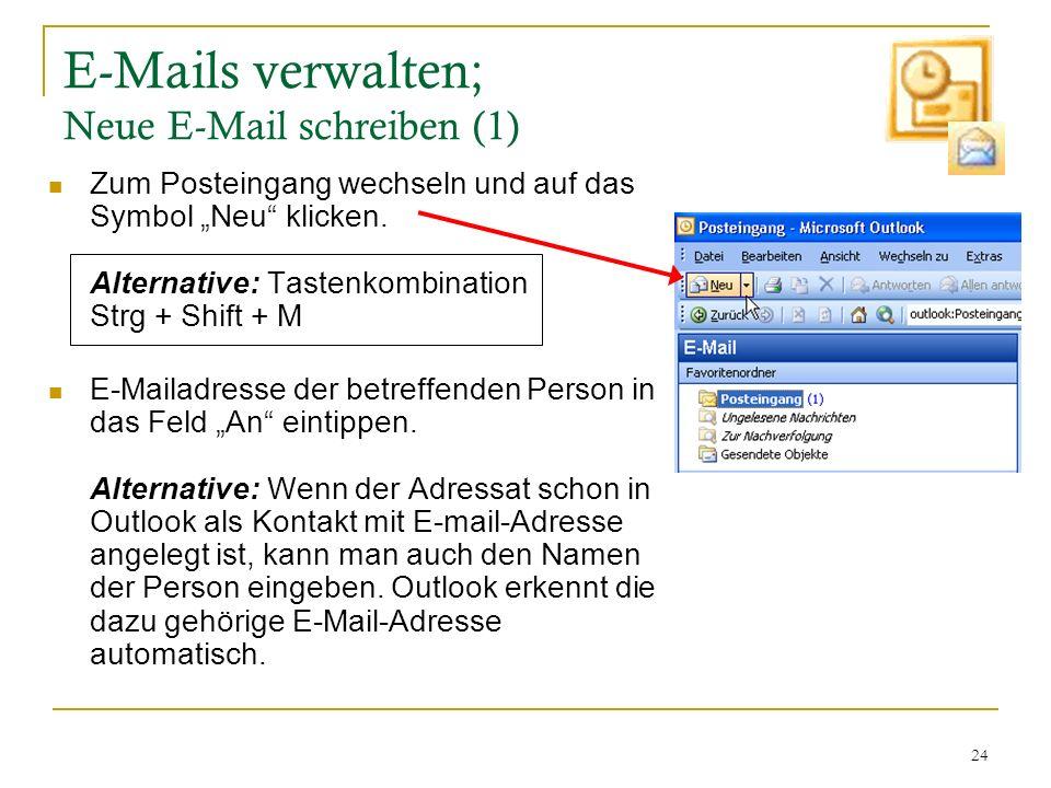 24 E-Mails verwalten; Neue E-Mail schreiben (1) Zum Posteingang wechseln und auf das Symbol Neu klicken. Alternative: Tastenkombination Strg + Shift +