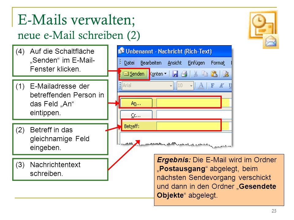 25 E-Mails verwalten; neue e-Mail schreiben (2) Ergebnis: Die E-Mail wird im OrdnerPostausgang abgelegt, beim nächsten Sendevorgang verschickt und dan