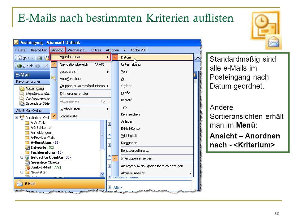 30 E-Mails nach bestimmten Kriterien auflisten Standardmäßig sind alle e-Mails im Posteingang nach Datum geordnet. Andere Sortieransichten erhält man