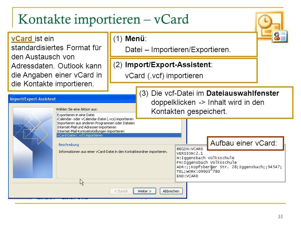 35 Kontakte importieren – vCard (1) Menü: Datei – Importieren/Exportieren. (2)Import/Export-Assistent: vCard (.vcf) importieren (3)Die vcf-Datei im Da