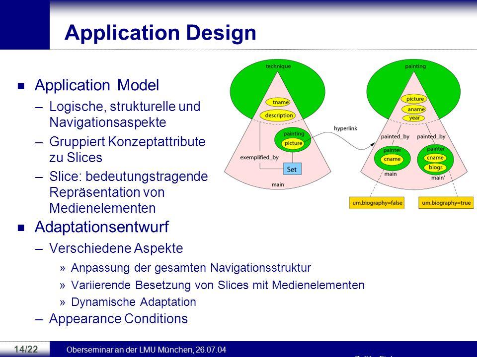 Oberseminar an der LMU München, 26.07.04 Zoltán Fiala 13/22 Conceptual Design Media Model –Submodell des CM –Hierarchisches Modell aus Medientypen –De