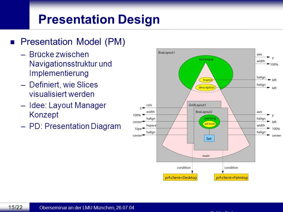 Oberseminar an der LMU München, 26.07.04 Zoltán Fiala 14/22 Application Design Application Model –Logische, strukturelle und Navigationsaspekte –Grupp