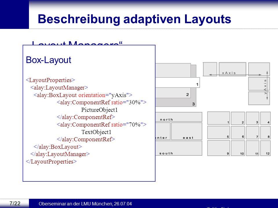 Oberseminar an der LMU München, 26.07.04 Zoltán Fiala 6/22... …...... Beschreibung adaptiven Verhaltens UserAge 18