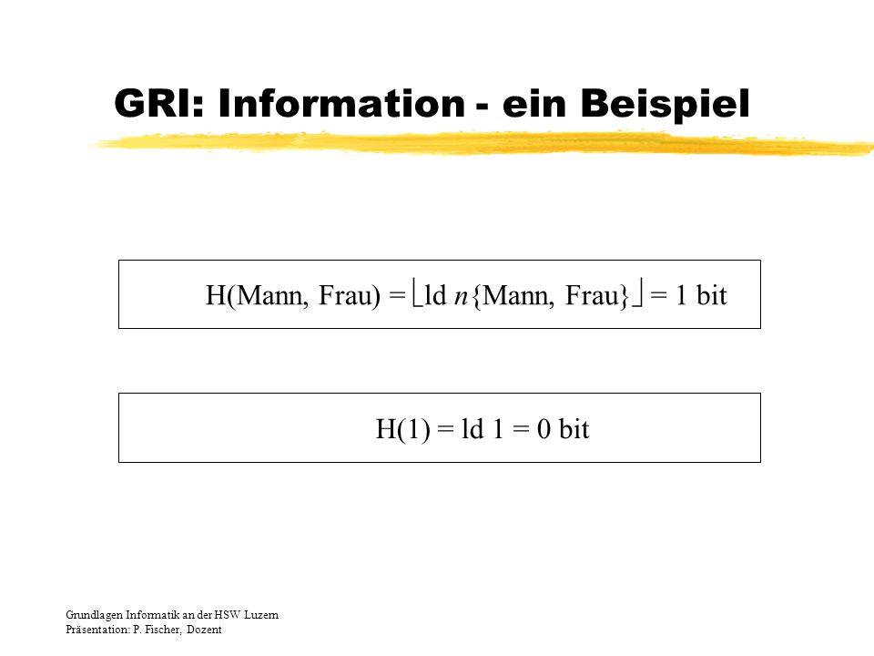 GRI: Information - ein Beispiel H(Mann, Frau) = ld n{Mann, Frau} = 1 bit H(1) = ld 1 = 0 bit Grundlagen Informatik an der HSW Luzern Präsentation: P.