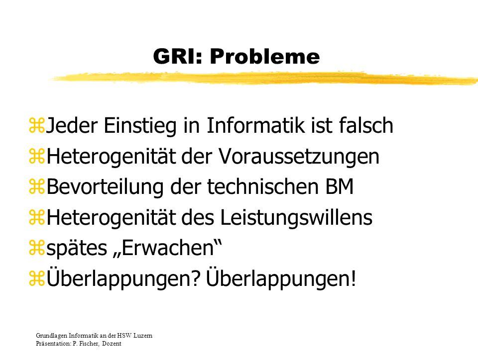 GRI: Probleme zJeder Einstieg in Informatik ist falsch zHeterogenität der Voraussetzungen zBevorteilung der technischen BM zHeterogenität des Leistung