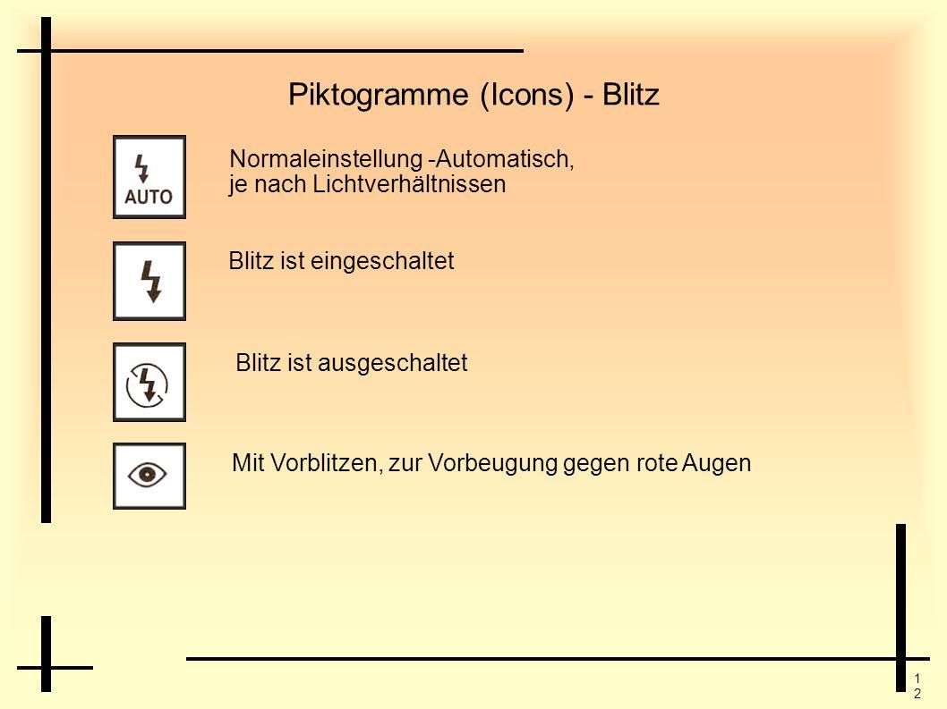 1212 Piktogramme (Icons) - Blitz Normaleinstellung -Automatisch, je nach Lichtverhältnissen Blitz ist eingeschaltet Blitz ist ausgeschaltet Mit Vorbli