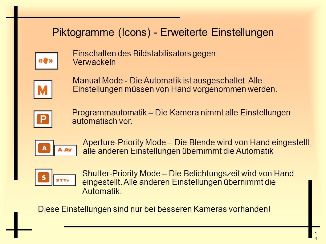 1313 Piktogramme (Icons) - Erweiterte Einstellungen Einschalten des Bildstabilisators gegen Verwackeln Manual Mode - Die Automatik ist ausgeschaltet.