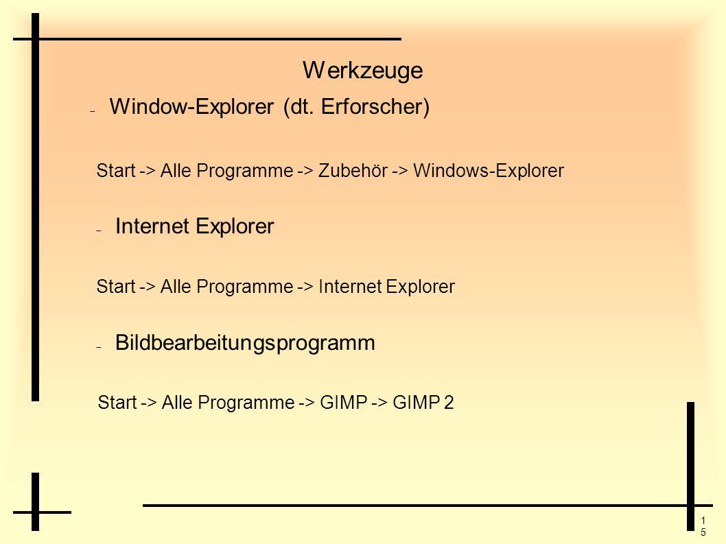 1515 Werkzeuge Start -> Alle Programme -> Zubehör -> Windows-Explorer Start -> Alle Programme -> Internet Explorer Internet Explorer Bildbearbeitungsp