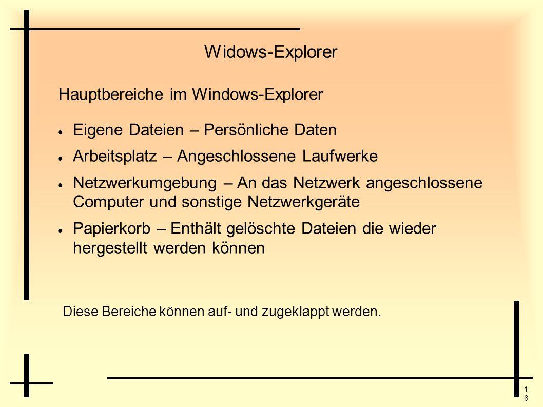 1616 Widows-Explorer Eigene Dateien – Persönliche Daten Arbeitsplatz – Angeschlossene Laufwerke Netzwerkumgebung – An das Netzwerk angeschlossene Comp