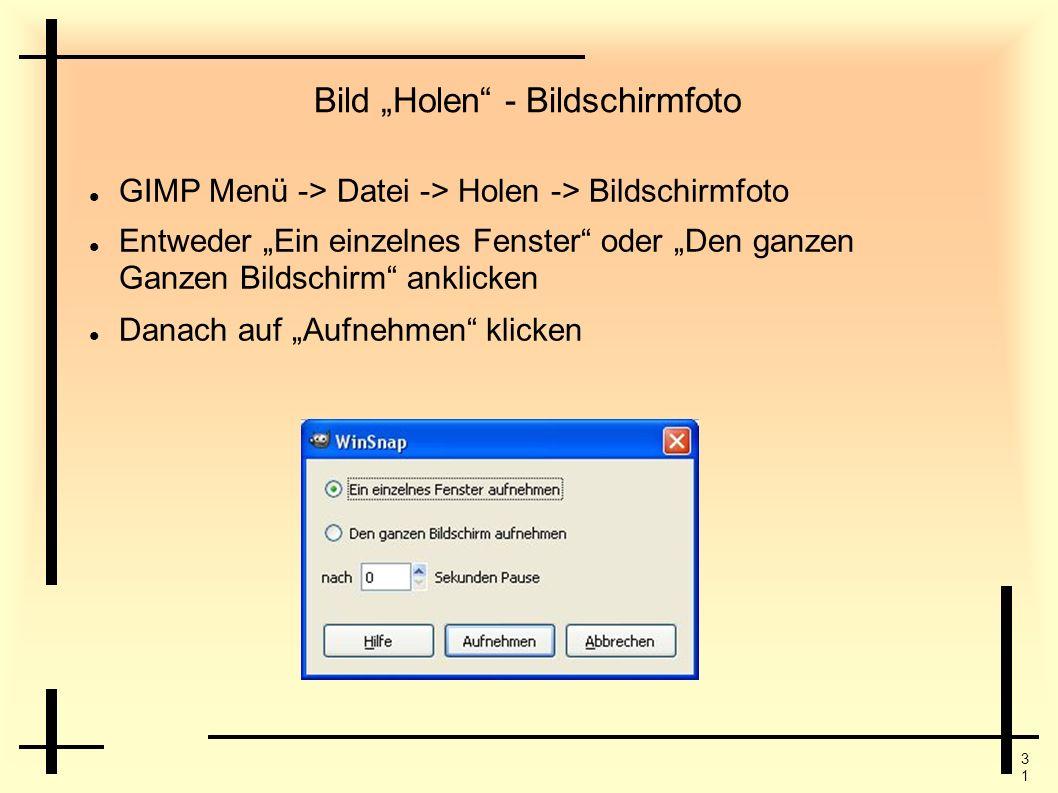 3131 Bild Holen - Bildschirmfoto GIMP Menü -> Datei -> Holen -> Bildschirmfoto Entweder Ein einzelnes Fenster oder Den ganzen Ganzen Bildschirm anklic