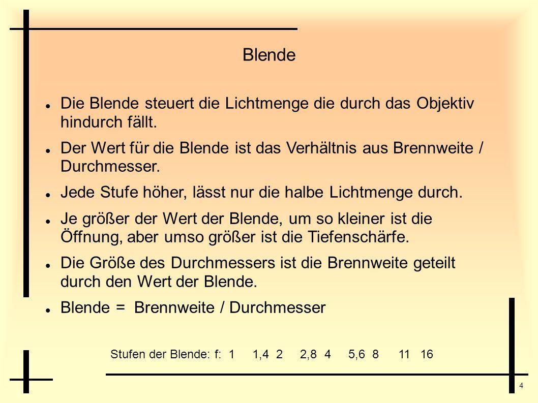 4 Blende Stufen der Blende: f:11,422,845,681116 Die Blende steuert die Lichtmenge die durch das Objektiv hindurch fällt. Der Wert für die Blende ist d
