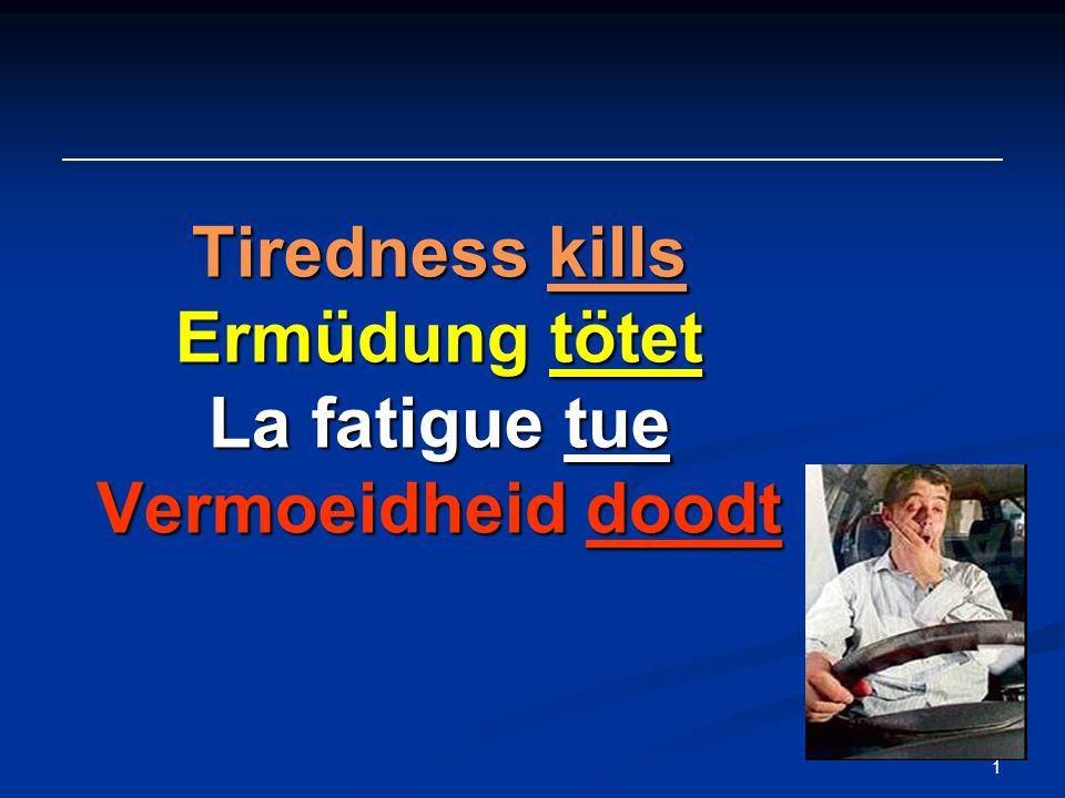1 Tiredness kills Ermüdung tötet La fatigue tue Vermoeidheid doodt