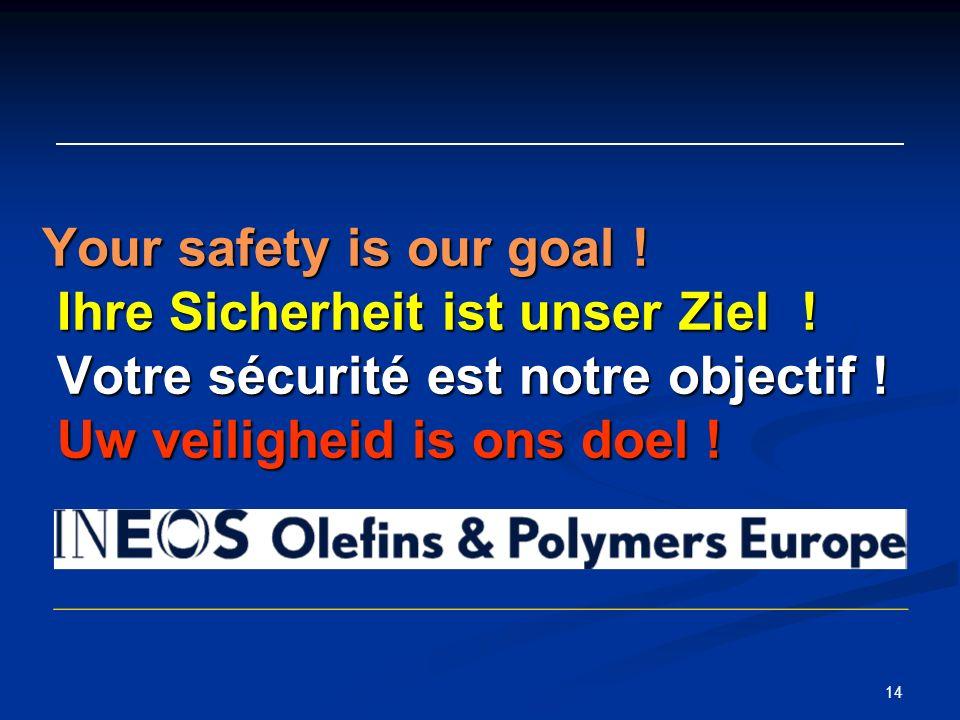 14 Your safety is our goal . Ihre Sicherheit ist unser Ziel .