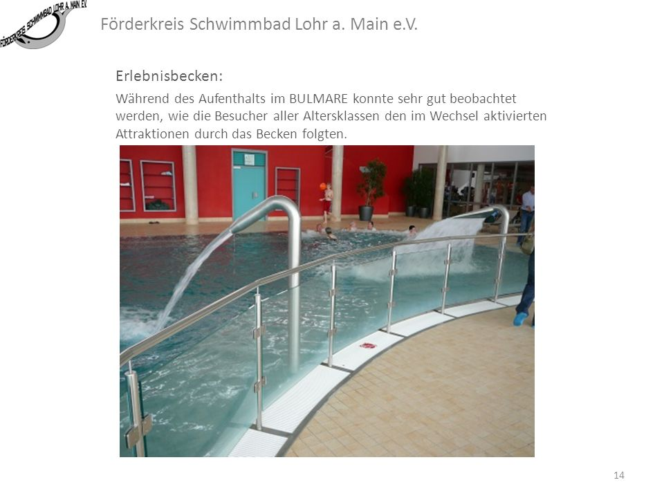 Förderkreis Schwimmbad Lohr a. Main e.V. Erlebnisbecken: Das Erlebnisbecken ist bisher in Lohr nur als Hotwirlpool geplant. Hier könnte eine erheblich